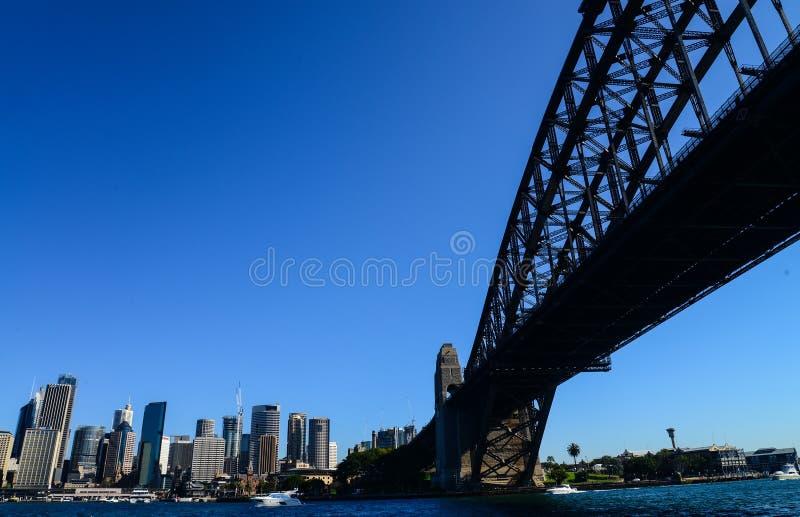 CBD and Sydney Harbour Bridge from ferry stock photos