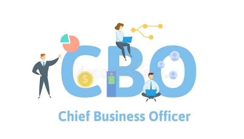 CBO, офицер основного занятия Концепция с людьми, письмами и значками r r иллюстрация вектора