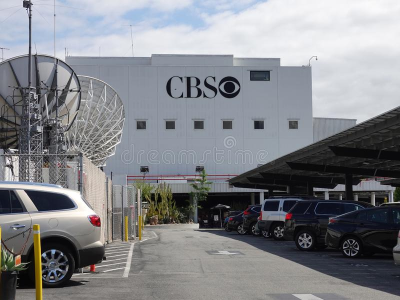 """CBS TV Corporate Eye Logo at Television City in Los Angeles. Los Angeles, CA / USA - April 29, 2019: The CBS """"Eye"""" logo is shown on a building at the royalty free stock images"""