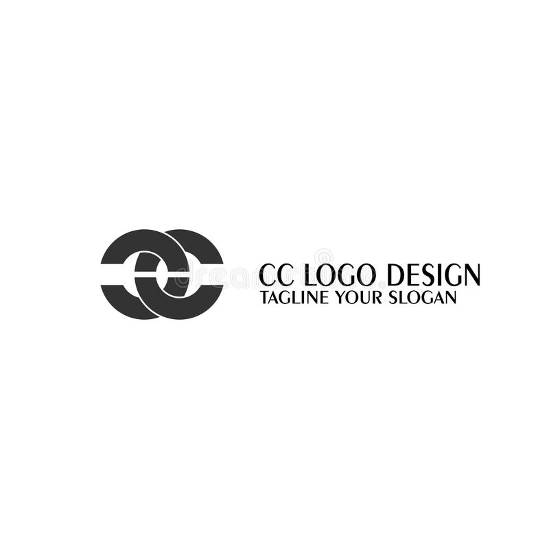 CC letter logo, simple design. stock illustration