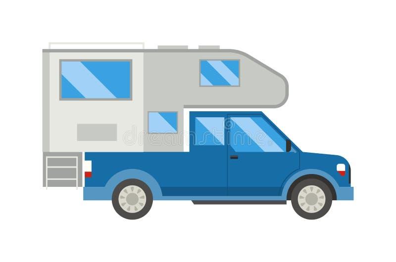 Ccaravan travel car vehicle trailer house summer vacation vector. stock illustration