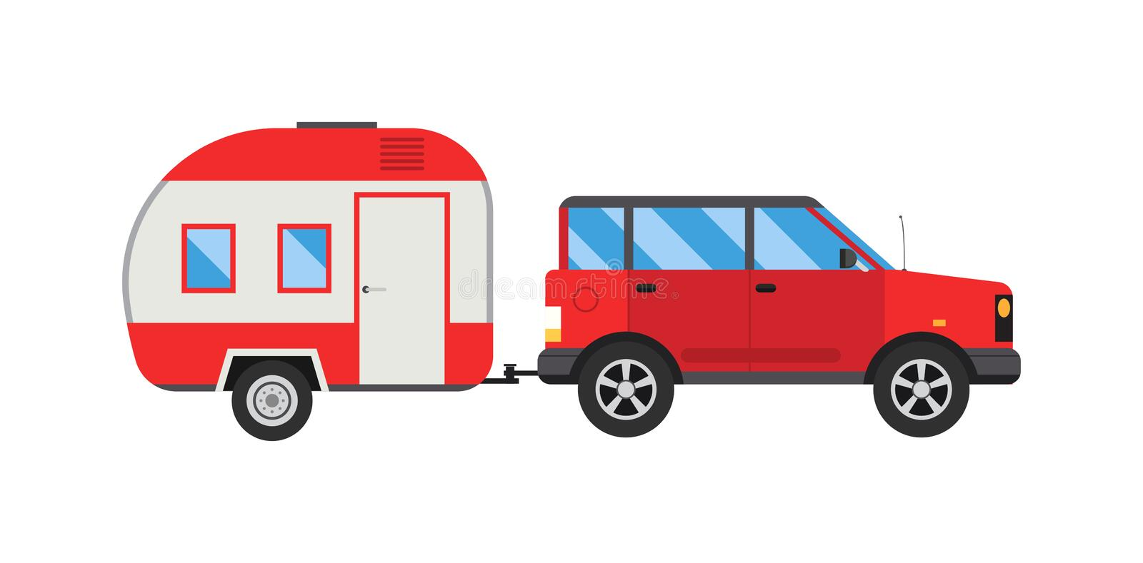 Download Ccaravan Travel Car Vehicle Trailer House Summer Vacation Vector Stock