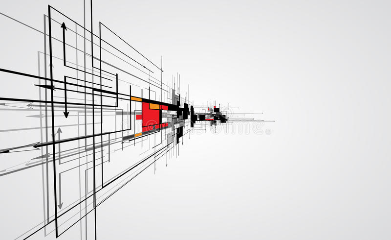 CCB abstracto del negocio de la tecnología del cubo del ordenador del circuito de la estructura stock de ilustración