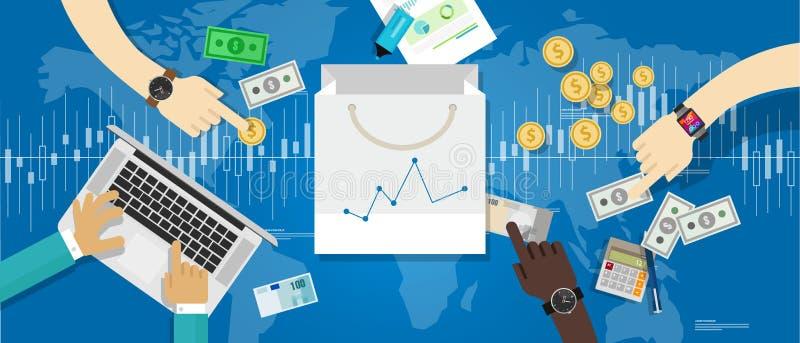 Cci för statistik för affär för förhöjning för utgifter för shopping för tillväxt för marknad för konsumentprisindexcpi-förtroend royaltyfri illustrationer