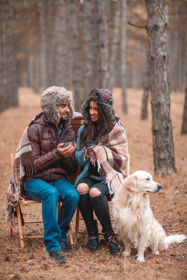 Ccouple förälskat iklätt varmt yttre klädsammanträde i höstskogen med en hund och ett drickate royaltyfria foton