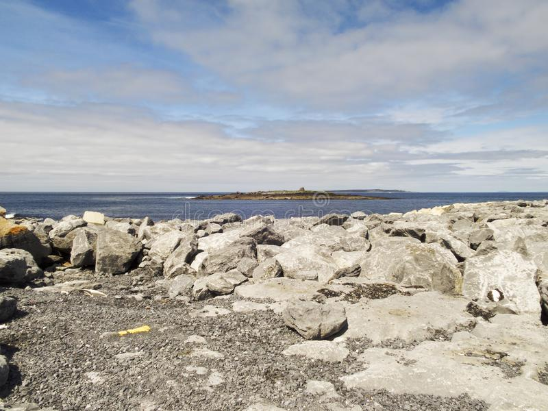 CCrab Island seen from Doolin pier with Aran Islands behind stock photos
