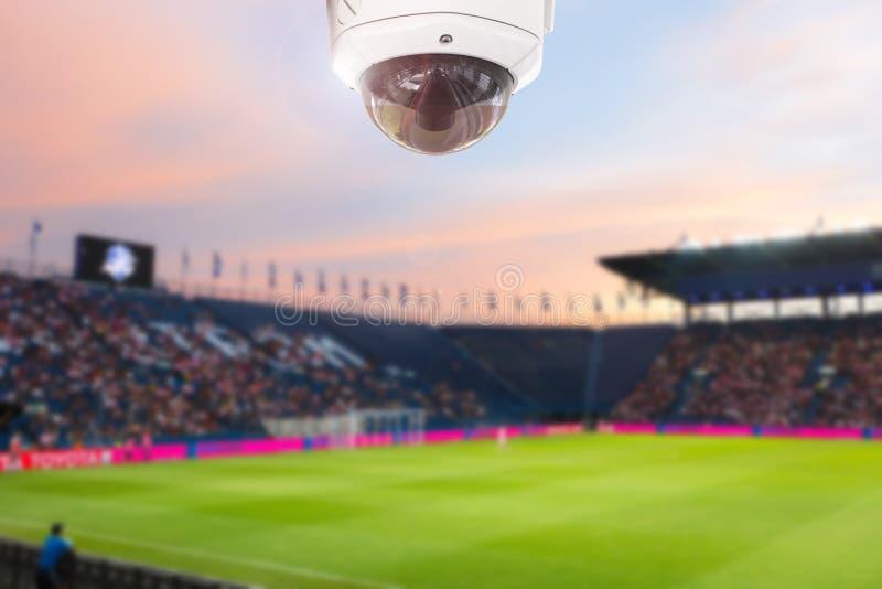 CCTV体育场橄榄球微明背景 免版税库存照片