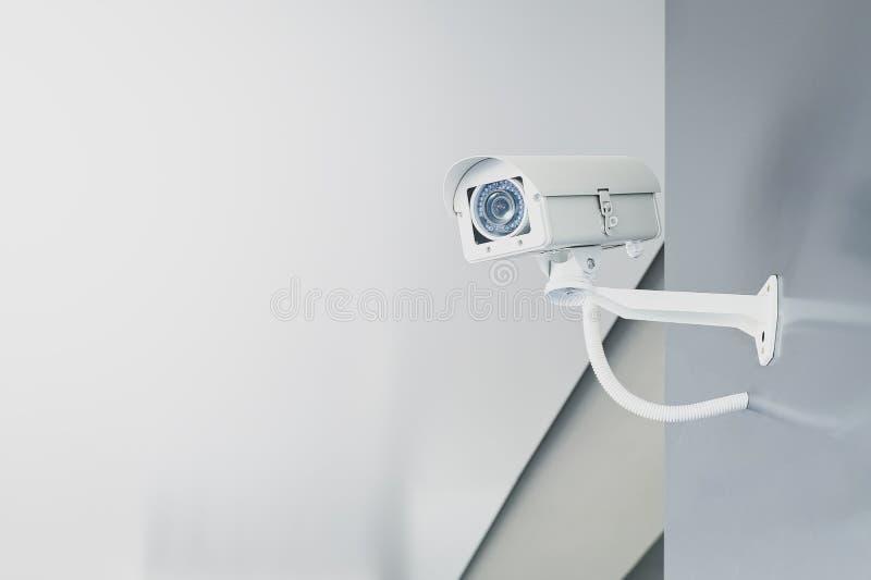 CCTV在墙壁上的安全监控相机在监测国民军系统的监视的家庭办公室 库存图片