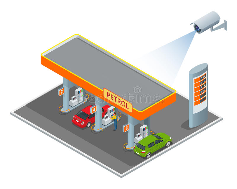 CCTV在汽油柴油驻地的等量例证的安全监控相机 3d等量传染媒介例证 皇族释放例证
