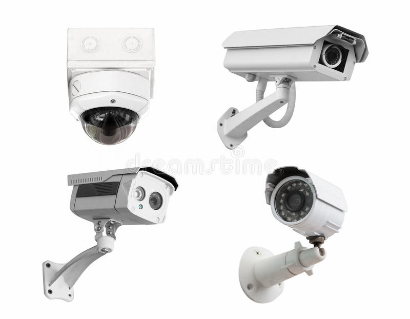 CCTV安全监控相机隔绝了白色背景 截去p 免版税库存图片