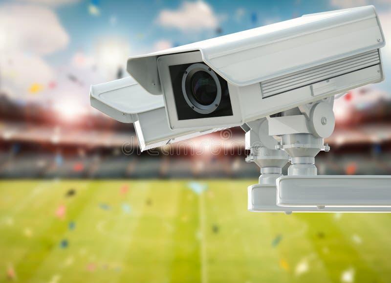 Cctv照相机或安全监控相机在体育场背景 免版税图库摄影