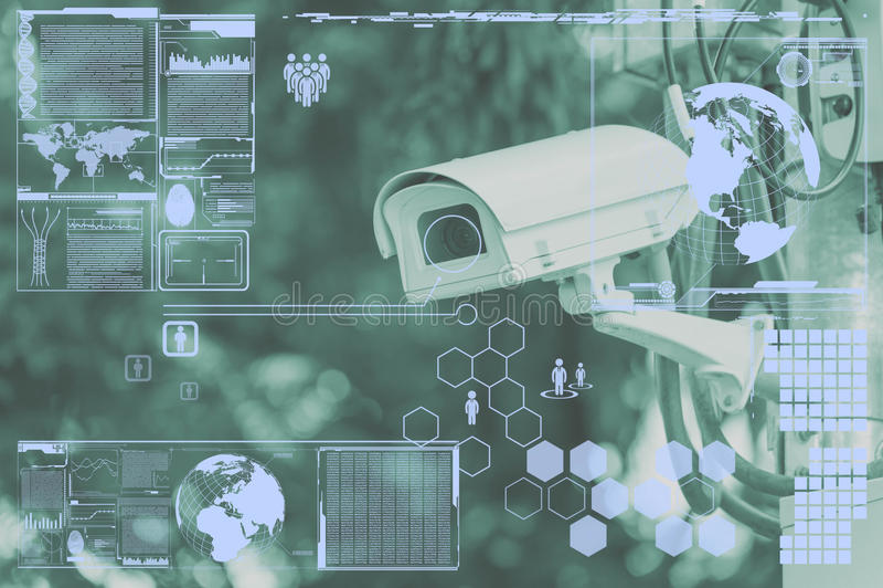 CCTV照相机或监视技术在屏幕上 皇族释放例证