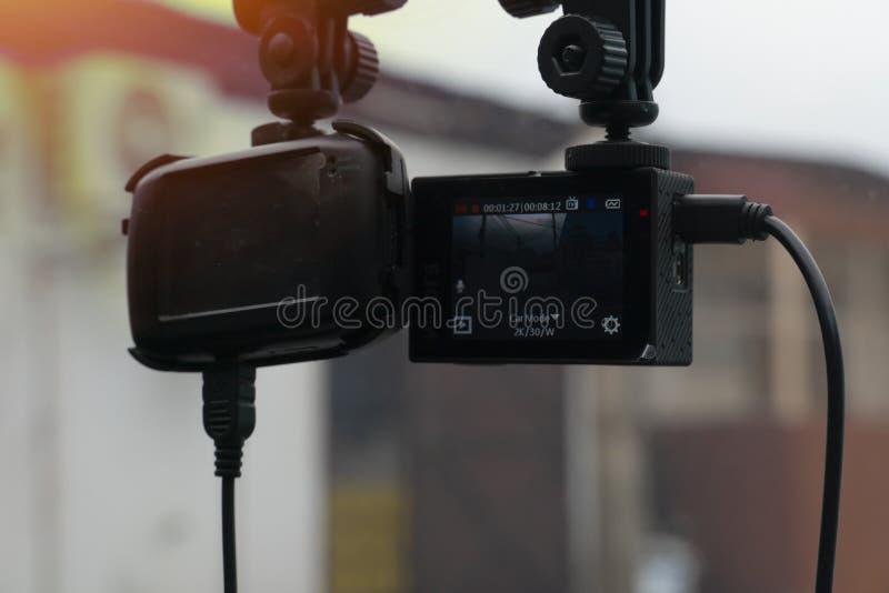 CCTV照相机或行动照相机在汽车 图库摄影