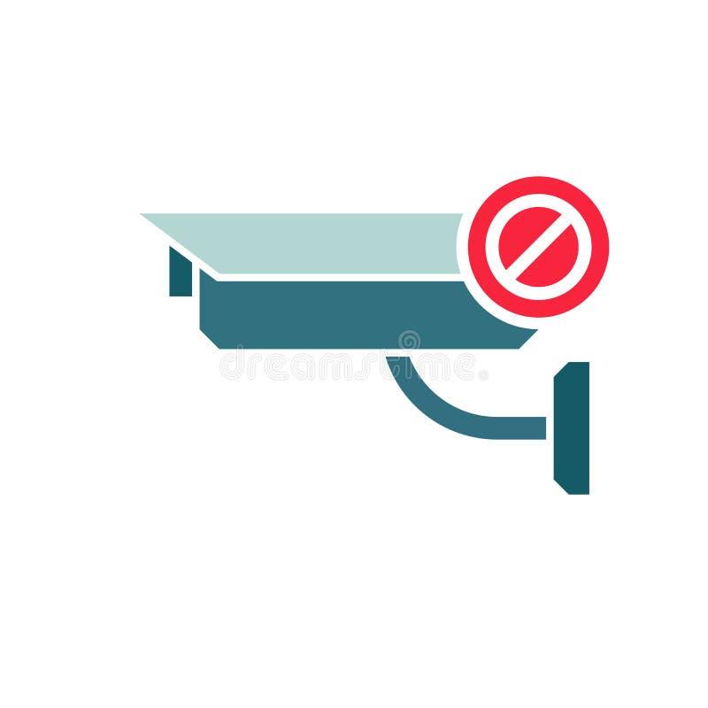 CCTV照相机象,安全与不允许的标志的监视象 CCTV照相机象和块,禁止,禁止标志 向量例证