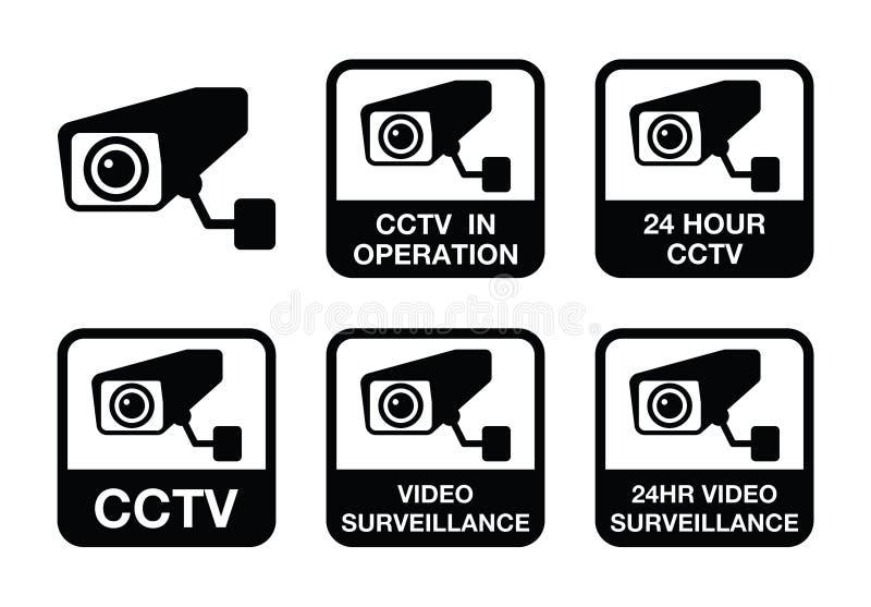 CCTV照相机,被设置的录影监视象 向量例证