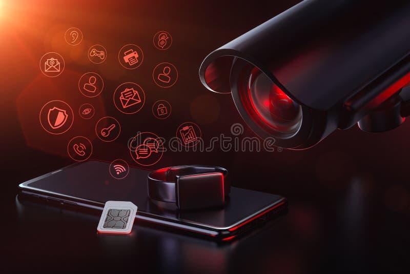 Cctv监视应用程序和流动数据量 保密性,监视,跟踪和收集用户数据概念的数据 3d?? 皇族释放例证