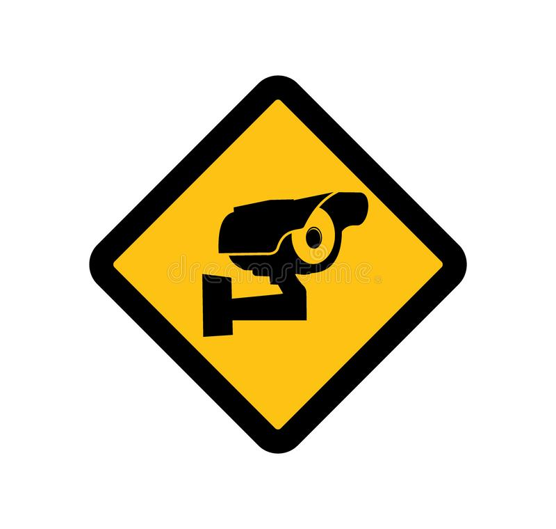 CCTV ή κάμερα ασφαλείας επιτήρησης που ελέγχουν το διανυσματικό σχέδιο λογότυπων για την αυτοκόλλητη ετικέττα, το σημάδι και το ε απεικόνιση αποθεμάτων