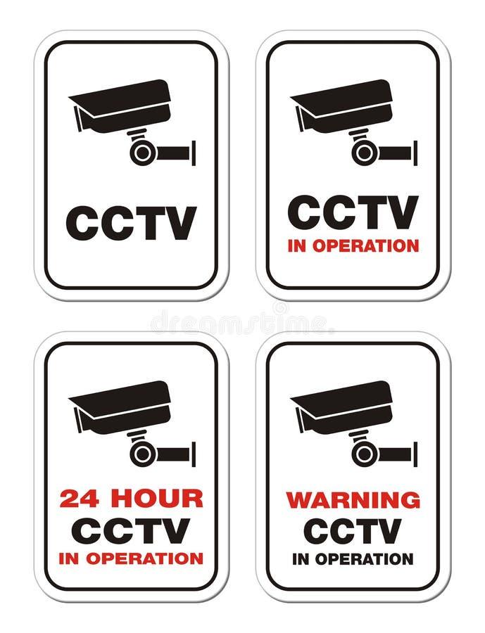 CCTV προειδοποίησης σε λειτουργία - προειδοποιητικά σημάδια απεικόνιση αποθεμάτων