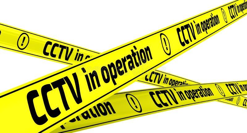 CCTV σε λειτουργία Κίτρινες ταινίες προειδοποίησης απεικόνιση αποθεμάτων