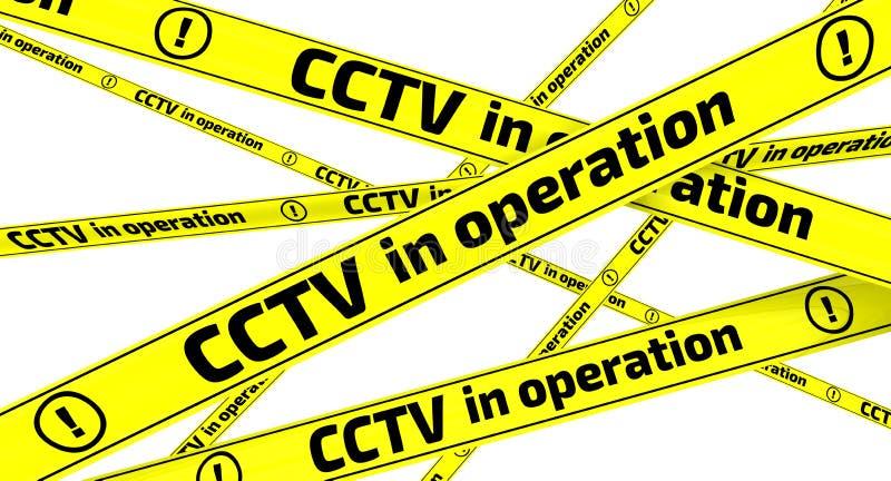 CCTV σε λειτουργία Κίτρινες ταινίες προειδοποίησης διανυσματική απεικόνιση