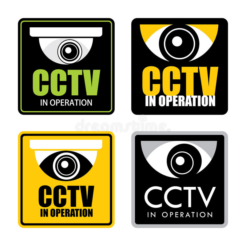 Cctv. Set of surveillance CCTV signs, vector royalty free illustration