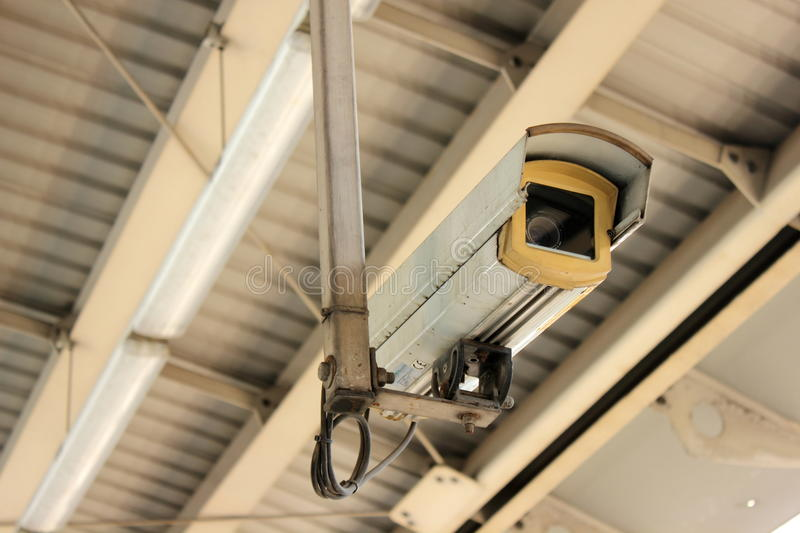 CCTV at airport interlink train station. Security Camera or CCTV at airport interlink train station royalty free stock photo
