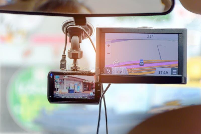 Cctv-bilkamera med navigatören Map royaltyfria bilder
