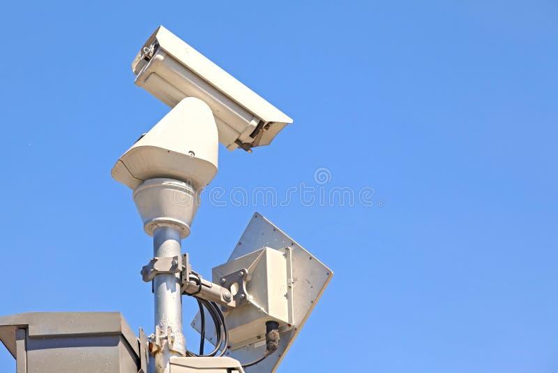 CCTV On Blue Sky Stock Photo