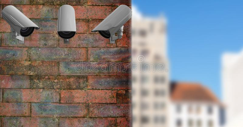 3 CCTV on a brick wall with the city in the background stock illustration