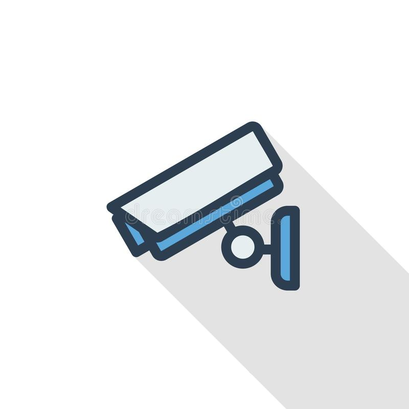 Cctv, cámara digital de la seguridad, línea fina icono plano de la protección Diseño largo colorido de la sombra del símbolo line ilustración del vector