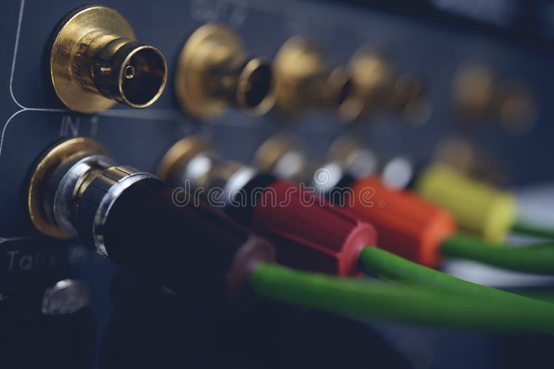 TV coaxial type to recording device. CCTV cable, TV coaxial type to recording device royalty free stock images
