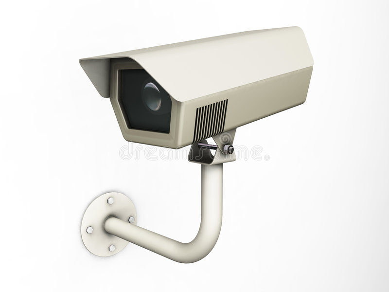 CCTV camera. 3D render of a CCTV camera stock illustration