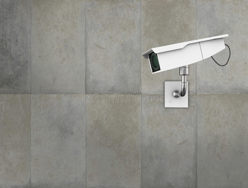 CCTV camera. On a concrete wall. High quality 3d illustration stock illustration