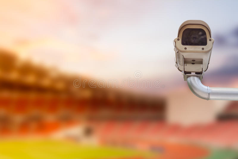 CCTV camera in football stadium royalty free stock photo