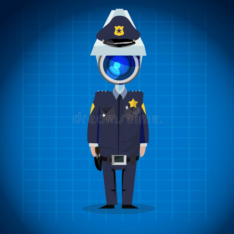CCTV camera headed man. policeman, security concept. character d. Esign - illustration stock illustration