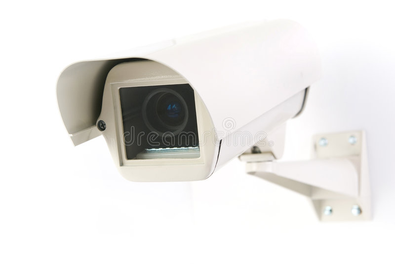 Cctv camera in housing royalty free stock image