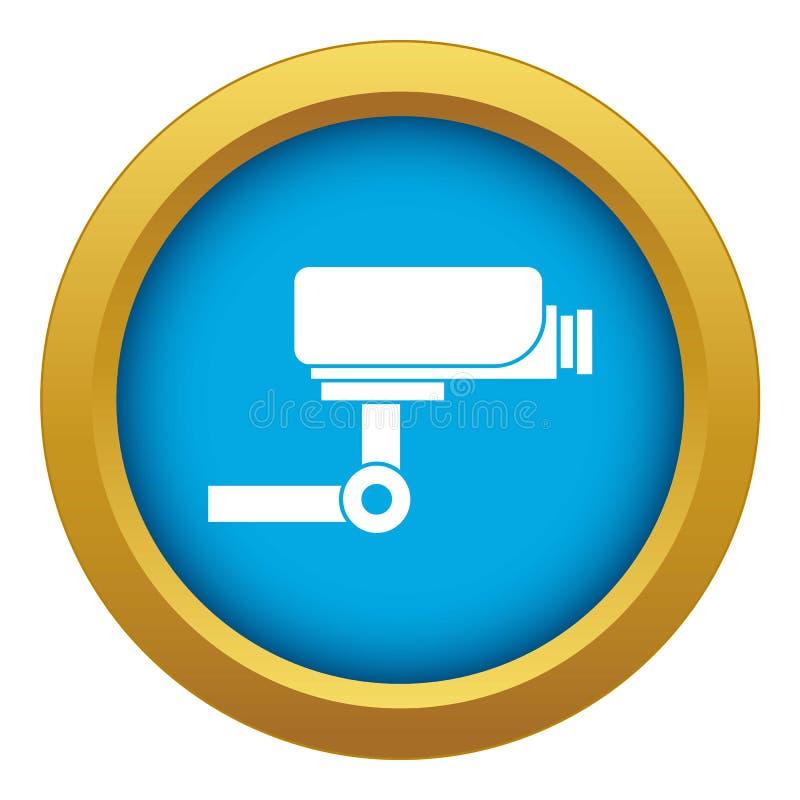 CCTV camera icon blue vector isolated stock illustration