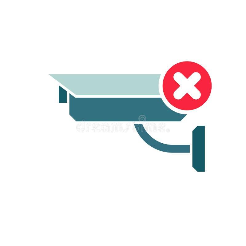 CCTV Camera icon, Security Surveillance icon with cancel sign. CCTV Camera icon and close, delete, remove symbol. Vector vector illustration