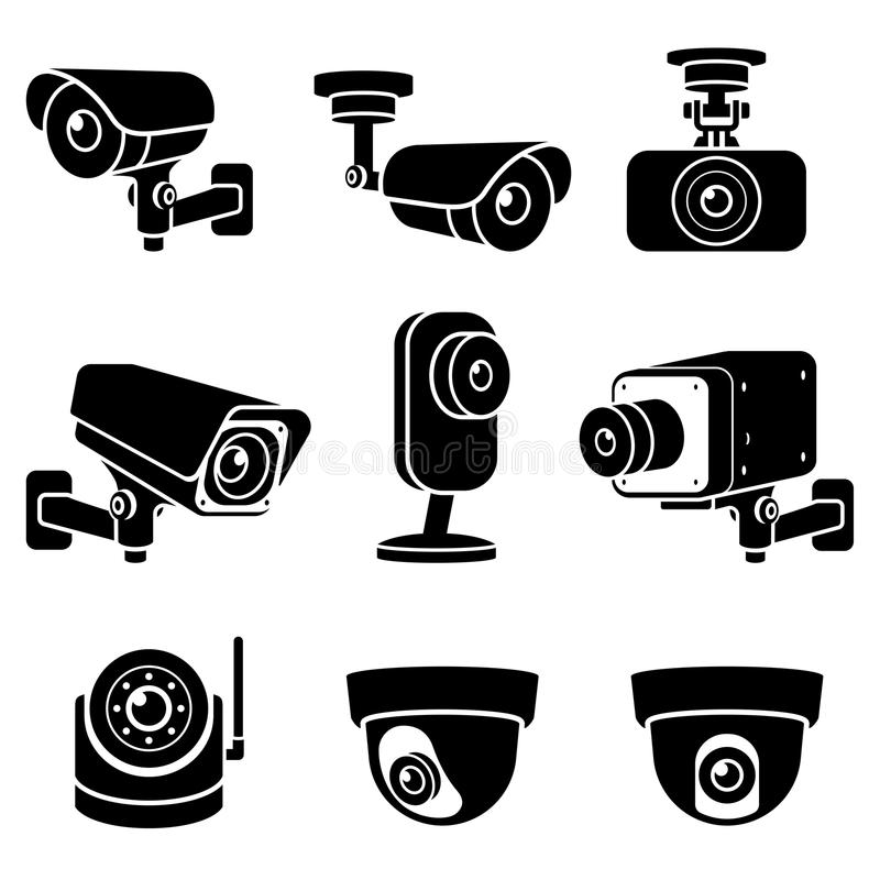 CCTV camera icons. Vector illustrations. CCTV camera black icons. Vector illustrations royalty free illustration