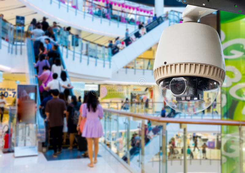 CCTV Camera. Operating inside a station or department store stock image