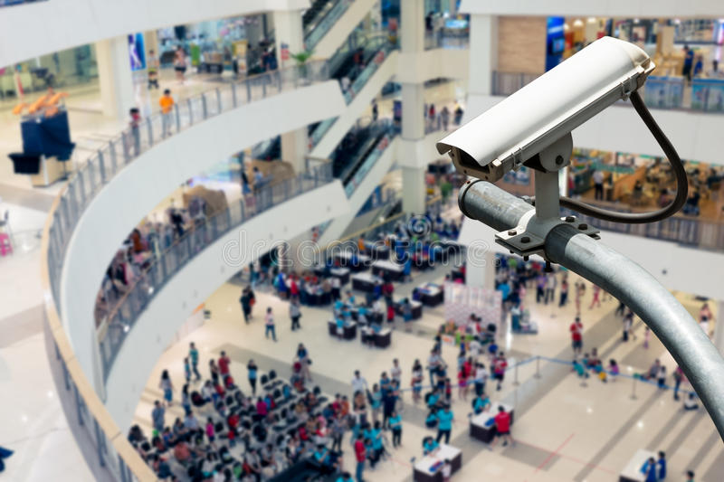 CCTV Camera. Operating inside a station or department store royalty free stock photos
