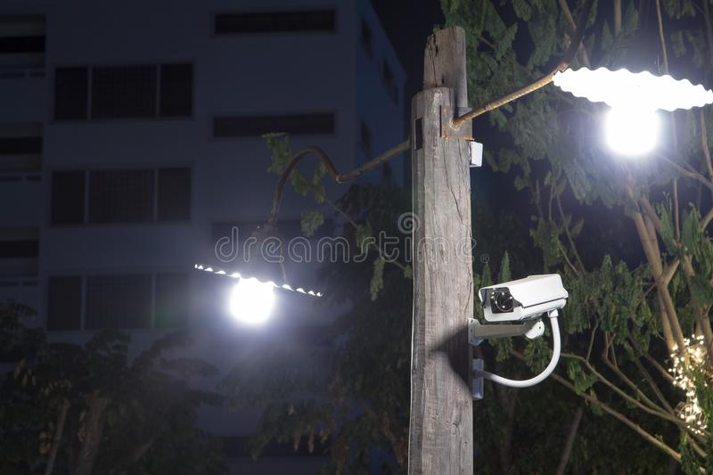 CCTV Camera on pole. CCTV Camera on pole with under the lamps stock photography