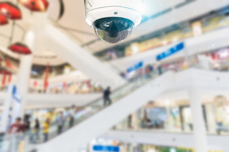 CCTV camera record on blurry store background. stock images