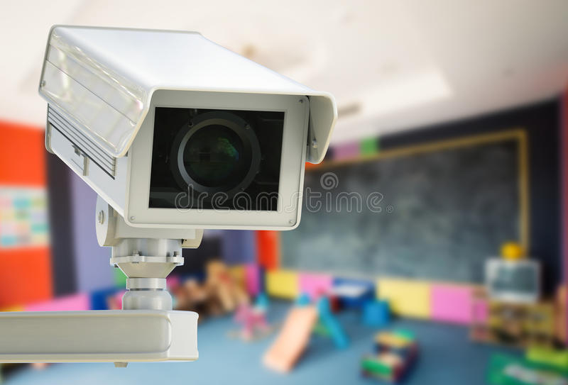 Cctv camera or security camera. 3d rendering cctv camera or security camera on kids room background stock photography