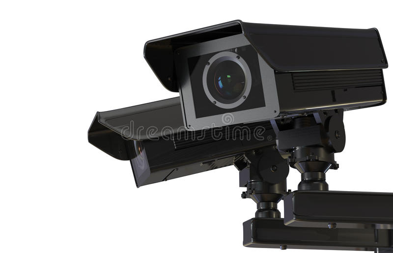 Cctv camera or security camera isolated on white. 3d rendering black cctv camera or security camera isolated on white stock photos