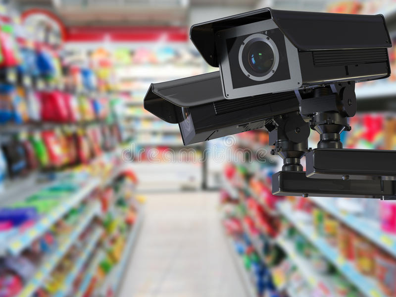 Cctv camera or security camera on retail shop blurred background. 3d rendering cctv camera or security camera on retail shop blurred background stock image