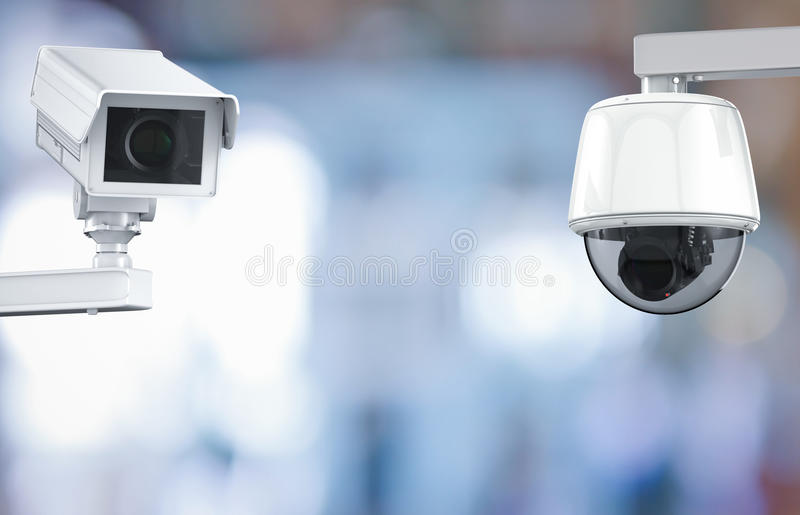 Cctv camera or security camera on retail shop blurred background. 3d rendering cctv camera or security camera on retail shop blurred background royalty free stock photography