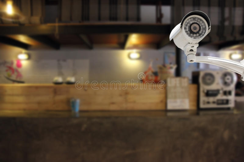 CCTV Camera security in a counter bar at hotel. CCTV Camera security operating or security camera monitoring in a counter bar at hotel stock photos