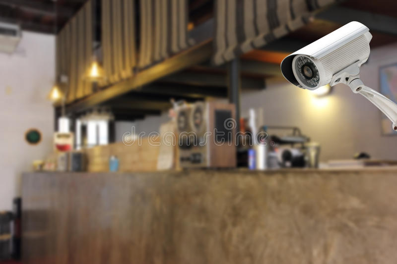 CCTV Camera security in a counter bar at hotel. CCTV Camera security operating or security camera monitoring in a counter bar at hotel stock photo