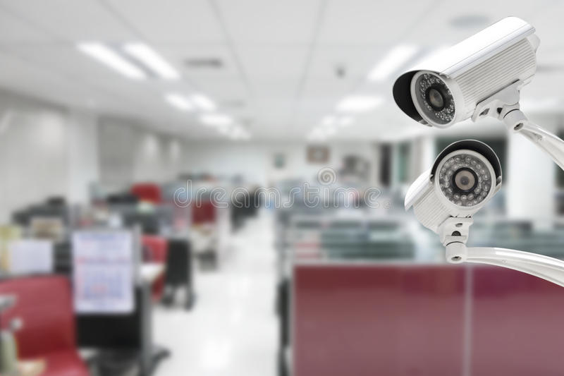 CCTV Camera security operating in office building.  royalty free stock images
